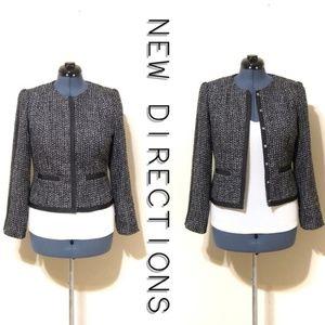 Fitted Tweed Blazer w/Trim EUC
